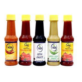 N2B Tomato Ketchup, Red Chilli-Sauce, SOYA-Sauce, Green-Chilli Sauce, White Vinegar - 200g Each, Combo 05 Combo  (1000)