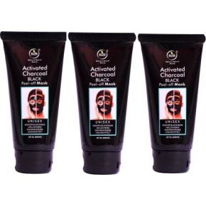 N2B CHARCOAL PEEL-OFF MASK - REMOVES BLACK HEADS UNLOG PORES SKING BRIGHTENING COOLING EFFECT PACK OF 3 OF 60ml  (180 ml)