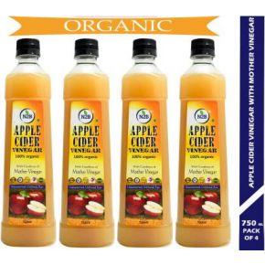 N2B Organic Apple Cider Vinegar Vinegar  (3000 ml, Pack of 4)
