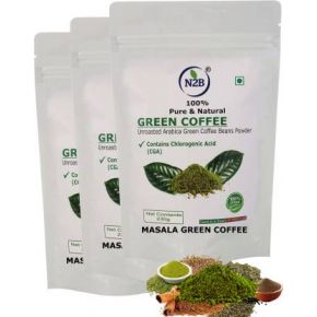 N2B Organic Masala Green Coffee Beans Powder 230g Pack of 3 Instant Coffee  (3 x 230 g, Spices Flavored)