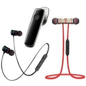 N2B Magnet Black & Red and K1 Bluetooth Pack of 3 Bluetooth Headset  (Black, White, Red, True Wireless)