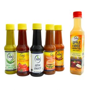 N2B Green Chilli + Red Chilli + Vegetable Sauce + Tomato Ketchup + Soya Sauce, 200g each + Apple Cider Vinegar 250ml, Combo 6  Combo  (1250)
